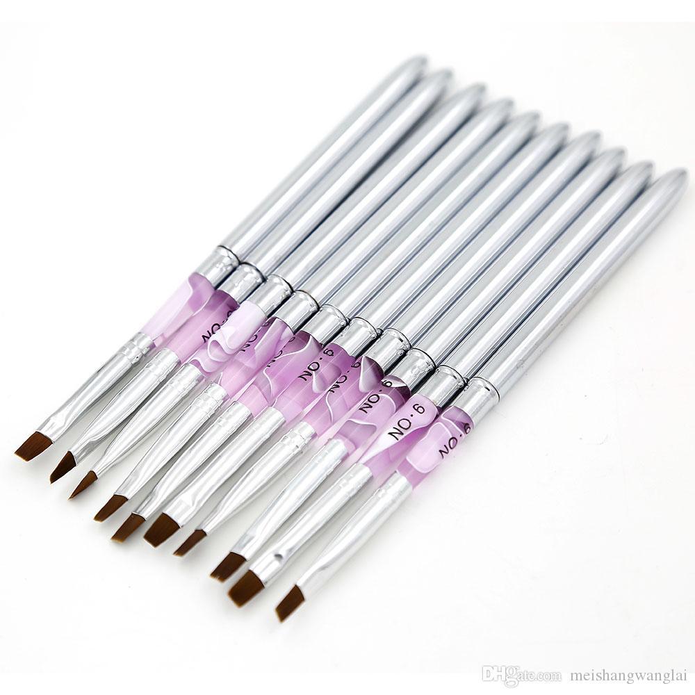 Escova de Unhas 10 unidades / lote de Metal Acrílico Nail Art Gel UV Carving Pen Escova Gel NO.2 / 4/6/8/10