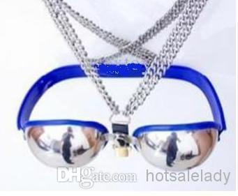 Soutien-gorge en acier inoxydable de haute qualité Soutien-gorge en métal bleu New Stlye Femme Entièrement réglable en acier inoxydable Soutien-gorge de chasteté Ceinture