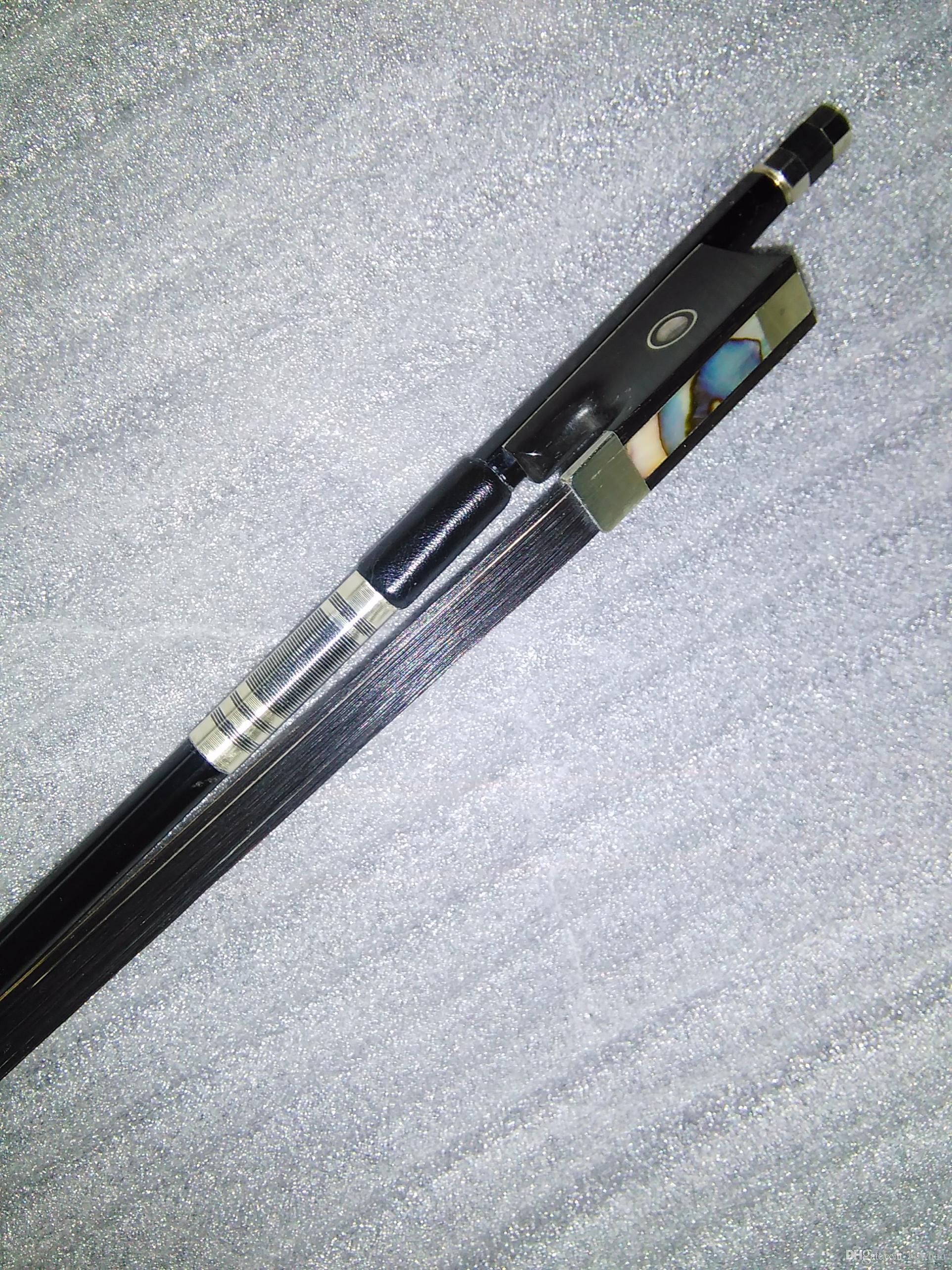5 pcs noir fibre de carbone arc 4/4 cheveux noir ébène grenouille oeil abalone
