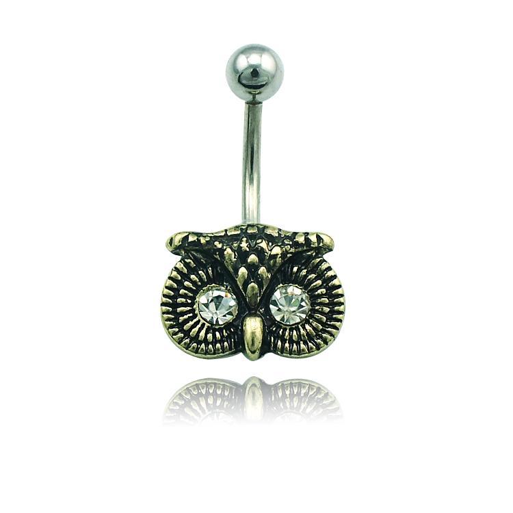Najnowsze Wysokiej Jakości Belly Button Pierścienie Ze Stali Nierdzewnej Retro Owl Moda Mężczyźni Pępek Body Piercing Biżuteria