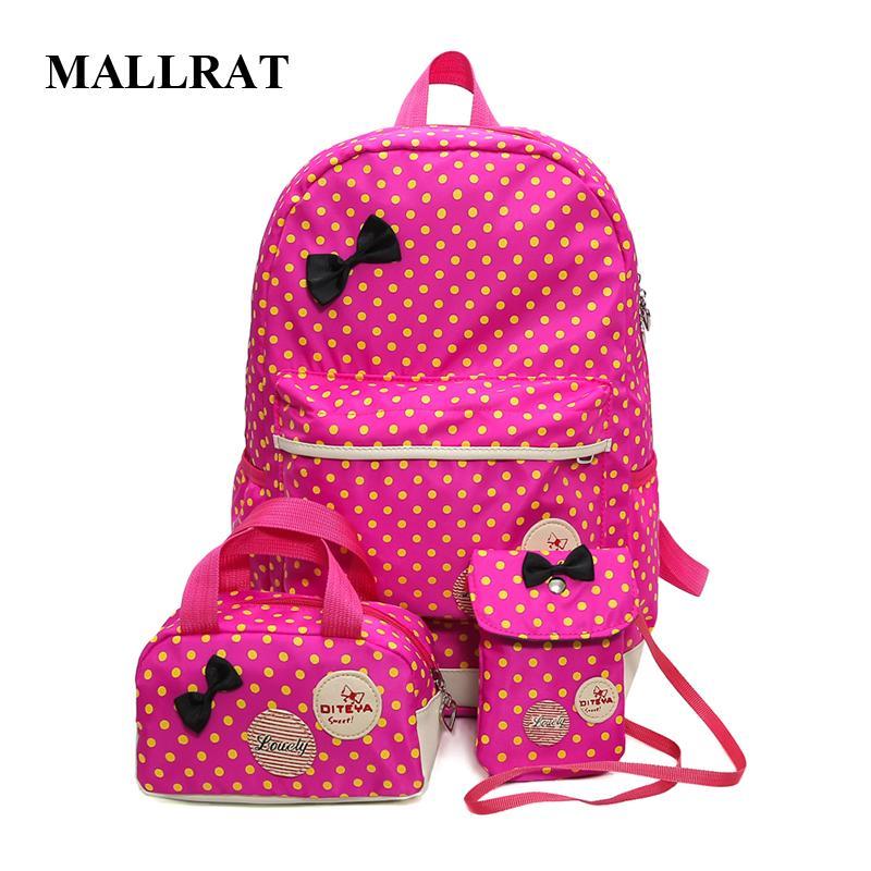 Mallrat School Bags for Teenagers Girls School Bag Large Capacity Dot Printing School Backpack Rucksack Bagpack Cute Book Bags