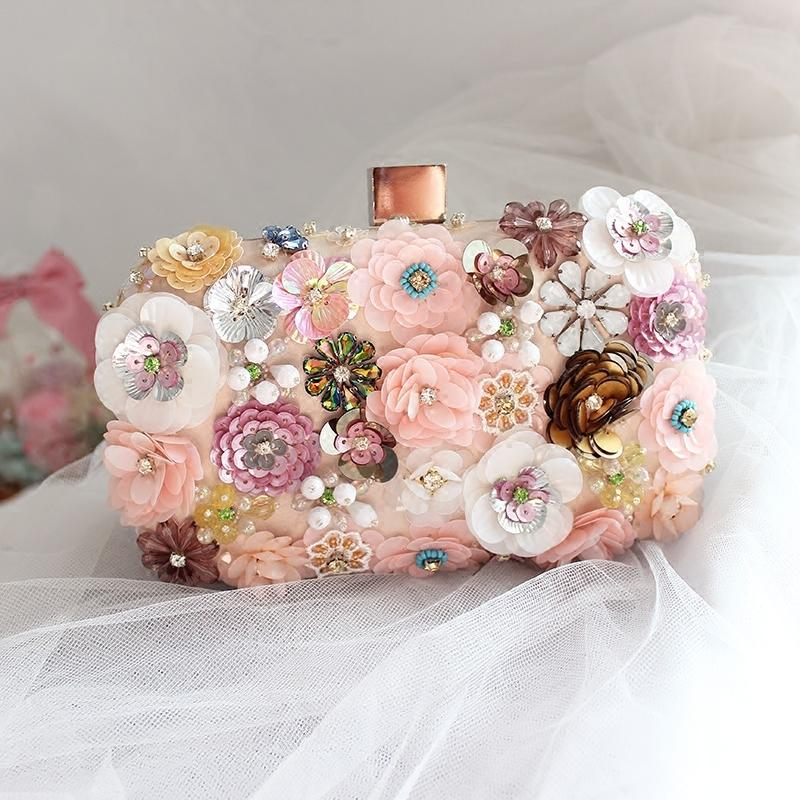 Elegant Princess Cute Hand Bags For Evening Clutches With Chain Wedding Bridal Handbags Flowers Sequins Bridal Hand Bag Handmade
