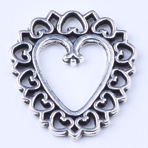 Nouvelle mode or rétro amour pendentif fleur Manufacture bricolage évider amour bijoux pendentif fit collier ou bracelets charme 250pcs / lot 1402c