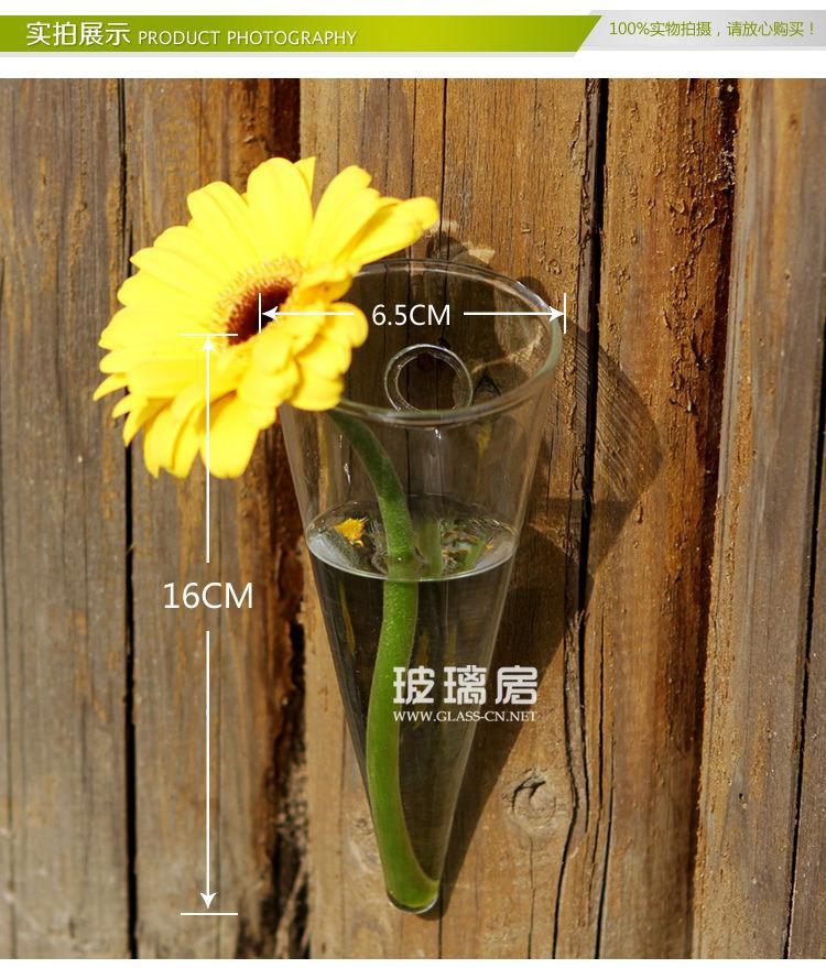 Hanging Clear Gl Taper Wall Mount Vase Flower Vase For Home ... on