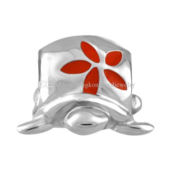 Родий Серебряный Цвет Покрытия Красный Цветок Эмаль Черепаха Шарик Морской Морской Жизни Шарм Fit Pandora Браслет