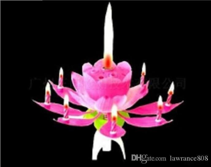 جميلة هدية عيد ميلاد زهرة الموسيقى شمعة زهرة لوتس LED ضوء شمعة لوتس بتلات الزفاف حفل عيد ميلاد زهرة الموسيقى شمعة لوتس نمط