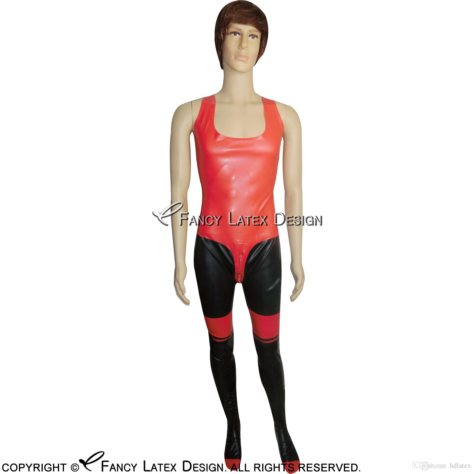 Sleeveless Black With Red Decorations Sexy Latex Catsuit With Crotch Zipper Bondage Rubber Bodysuit Fetish Zentai LTY-0051