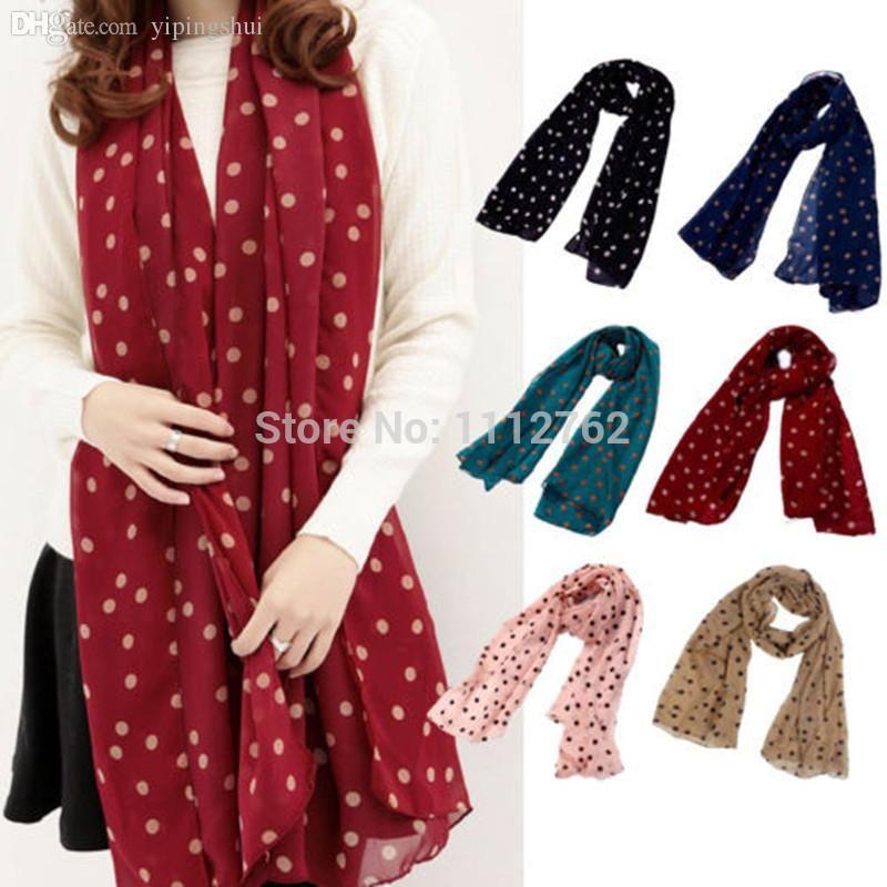 Wholesale-2015 New Stylish Girl Long Soft Silk Chiffon Scarf Wrap Polka Dot Shawl Scarves For Women Hot Sale YhJdN