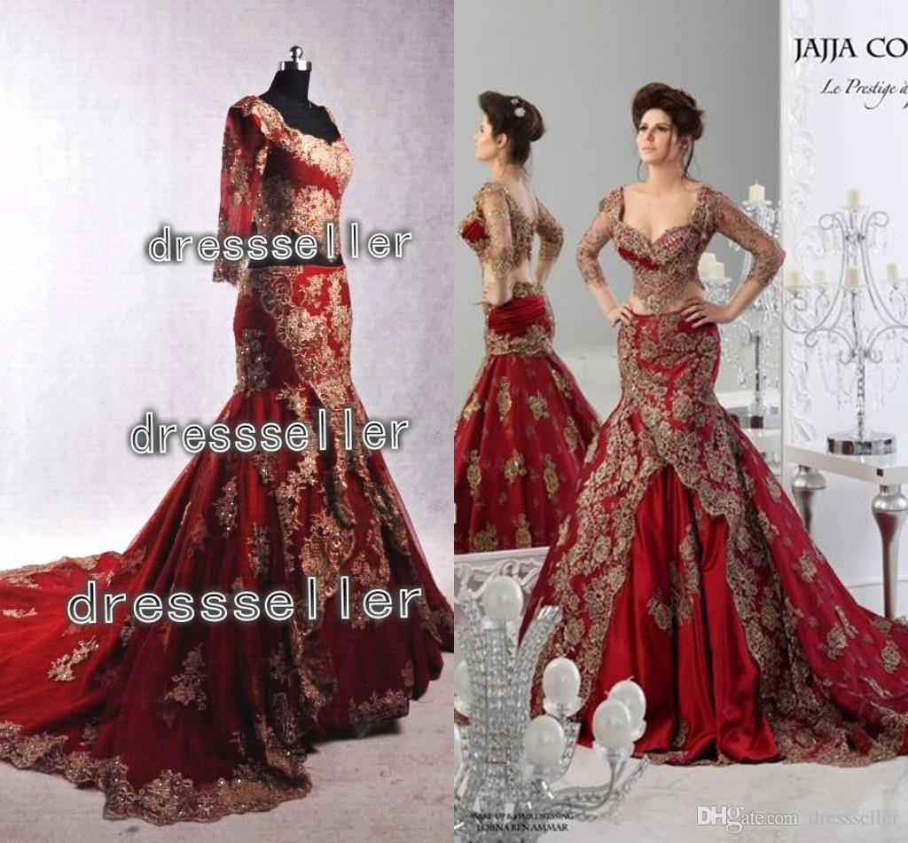 Cheap Real Image!! Elegant Mermaid Evening Gowns Arabic Golden ...