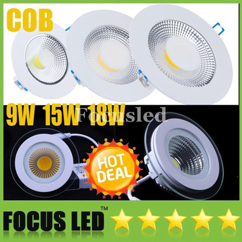 """Dimmable / Non 4.5 """"6"""" 7 """"9W 15W 18W COB Panneaux lumineux LED Downlights 110-240V Luminaire encastré au plafond Plafond vers le bas Éclairage Lampes Freeship DHL"""