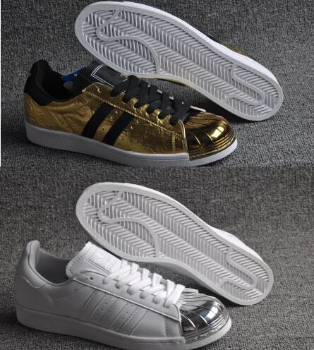 2020 100% Original Womens And Mens Superstar 80s Metal Toe Gold And Silver Sports Shoes Top Quality Running Shoes Lovers Sneakers Drop Shipping From