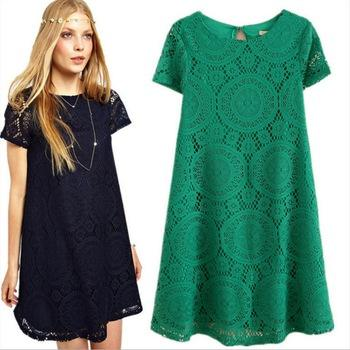 Plus Size Summer Women Clothing Floral Casual Dress Lace Short