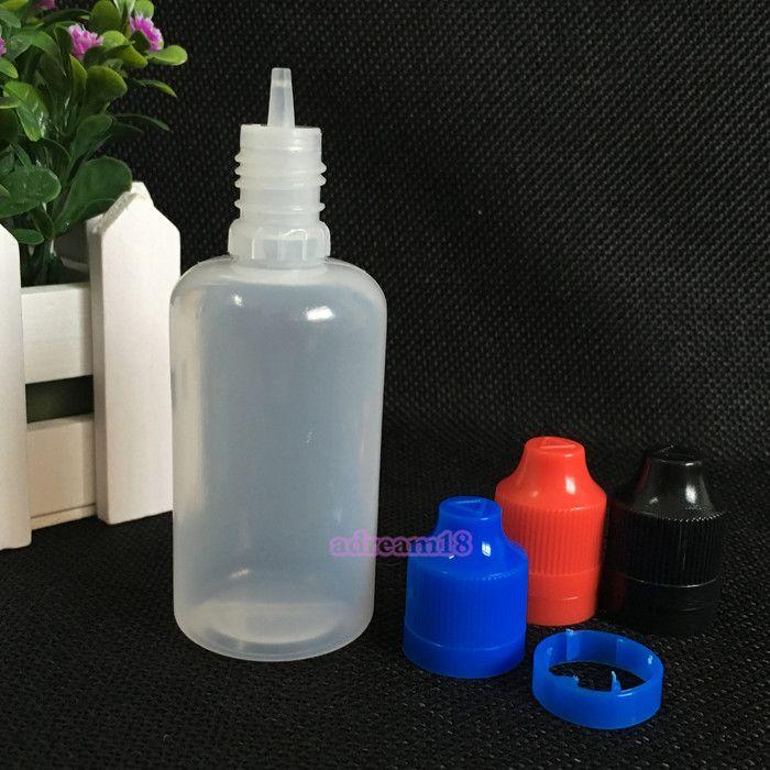 Verpakking 50 ml Kindveilige Tamper Cap Drop-fles met lange dunne tip Lege druppelaar Fles gratis verzending 1000pcs / lot Plastic Flessen