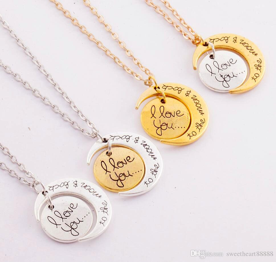 7Styles Ich liebe dich zum Mond und zurück Halskette 20pcs / lot Hummer-Haken-Hot-hängende Halskette