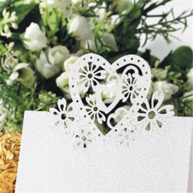 Wedding Invitation Cards wedding invitation kit 50pcs Name Place Card Love Heart Table Mark Wine Glass Wedding Party Decoration Heart-shaped