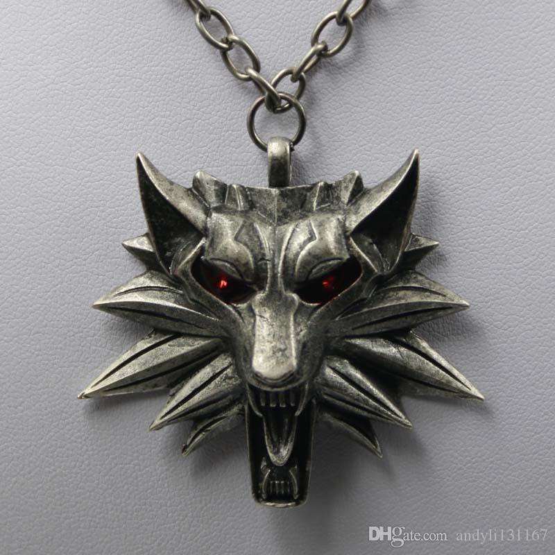 50pcs Wizard School Wolf Head Head Medallion Cains Collana Collana Wild Tribe Book Series Monster Hunter Games Animal Wolf Ciondolo Collana con borsa