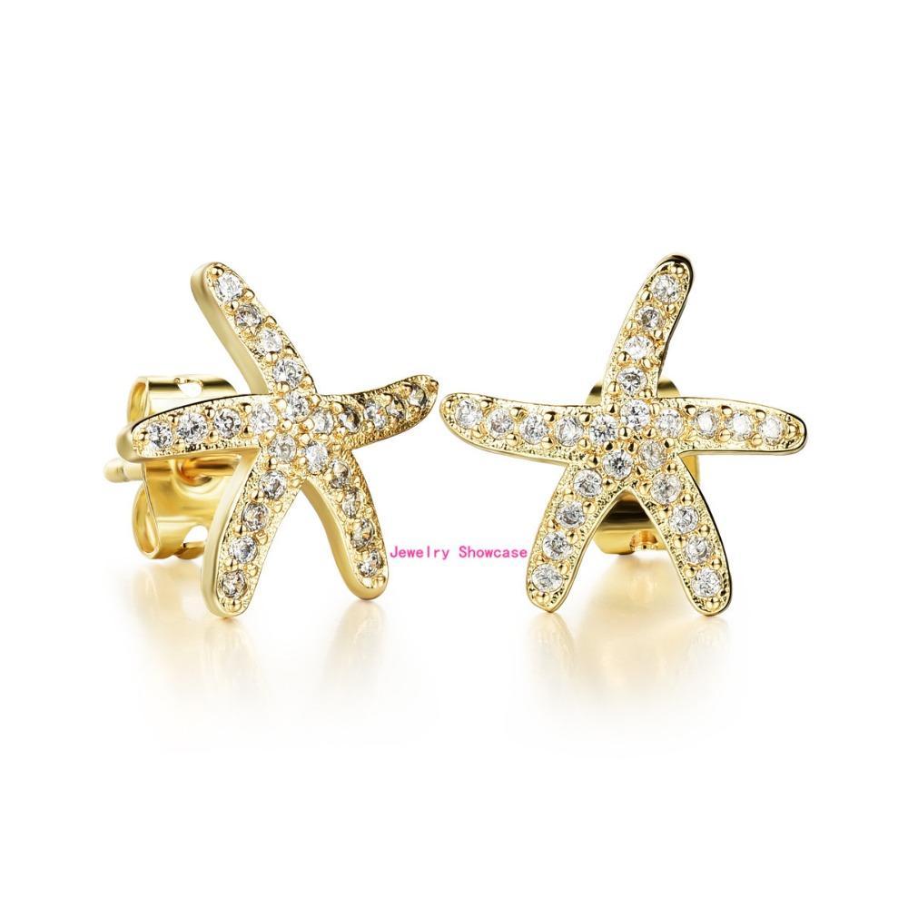 Симпатичные полный Кристалл циркония шипованных Морская звезда Shaped нержавеющей стали женщин серьги 1 пара