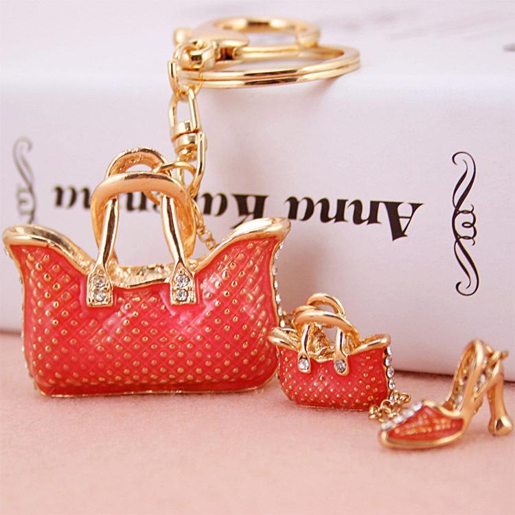 Yenilik emaye çanta- şekli anahtarlıklar kadın anahtarlık, çanta / çanta takılar, en kaliteli güzel hediye, gerçek altın kaplama alaşım anahtarlık,
