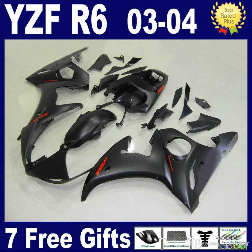 Kit de carenado negro mate para 2003 2004 carenados YAMAHA R6 03 04 piezas de carenado del kit de carenado YZF R6