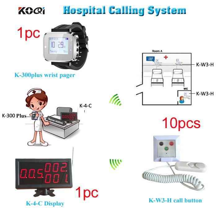 Sistema di chiamata infermiera wireless di 1 display di chiamata 1 orologio da polso per infermiere o medico e 10 pulsante di chiamata di emergenza