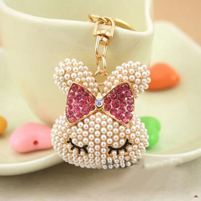Moda Anahtarlık tutucu, Tavşan Kafası Anahtar zincirleri, Çanta / çanta Charms, Güzel Hediye Gerçek Altın Kaplama Alaşım Anahtarlık, ücretsiz kargo