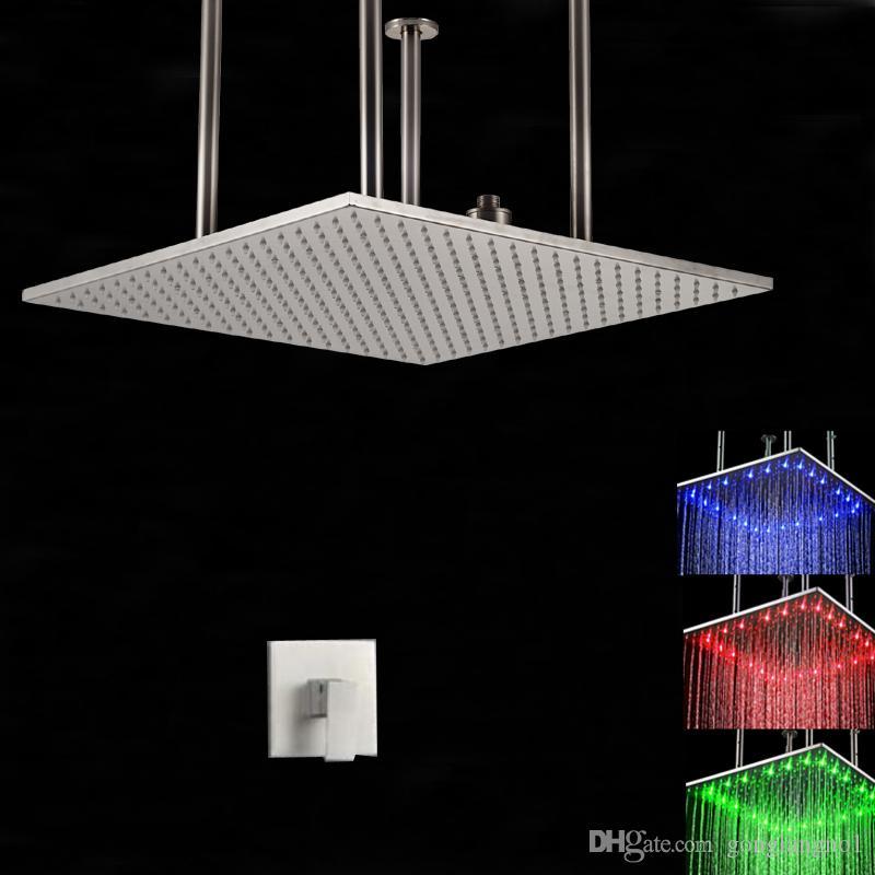 """Оптовая и розничная продажа LED изменение цвета 20 """" дождь насадка для душа горячий холодный клапан смеситель потолочный душ никель щеткой"""