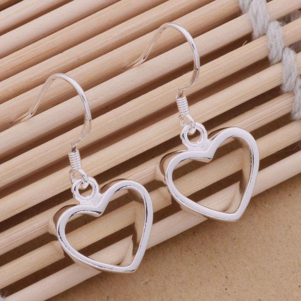 Fashion (Jewelry Manufacturer) 40 pcs a lot silver Heart earrings 925 sterling silver jewelry factory price Fashion Shine Earring Chandelier