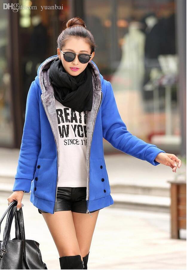Gros-Plus taille chaquetas mujer 2015 fashion hoodies femmes velours vestes femmes hiver vestes et manteaux longue veste blouson femme