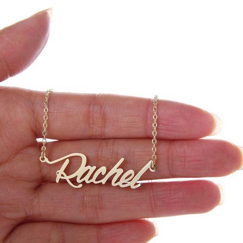"""Kundenspezifische Frauen 18 Karat vergoldet personalisierter Name Halskette """"Rachel"""" Edelstahl personalisierte Anhängerbuchstaben Namensschild Halskette, NL-2406"""