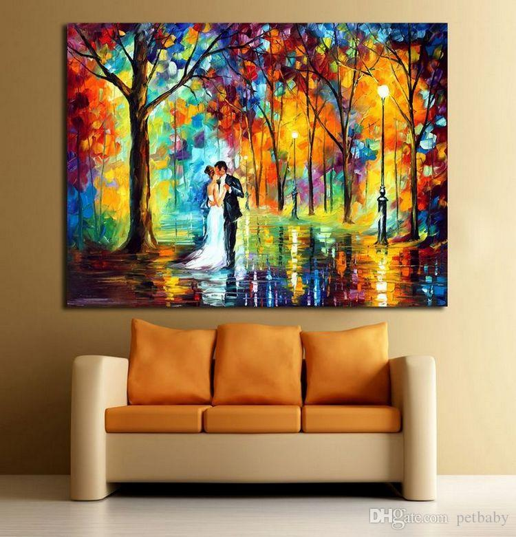 Romantic Kiss Happy Lovers-100% Hand-painted Canvas Oil Painting Frameless Color Palette Wall Picture for Hotel Office Home Decoration