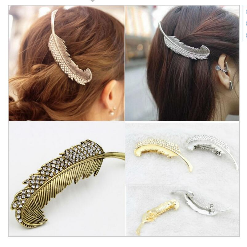 12 pcs/lot New Brand Vintage Feather Hair Clip Antique Gold Hair Clasp Jewelry Hairgrips for Women Head wear Hair Accessories