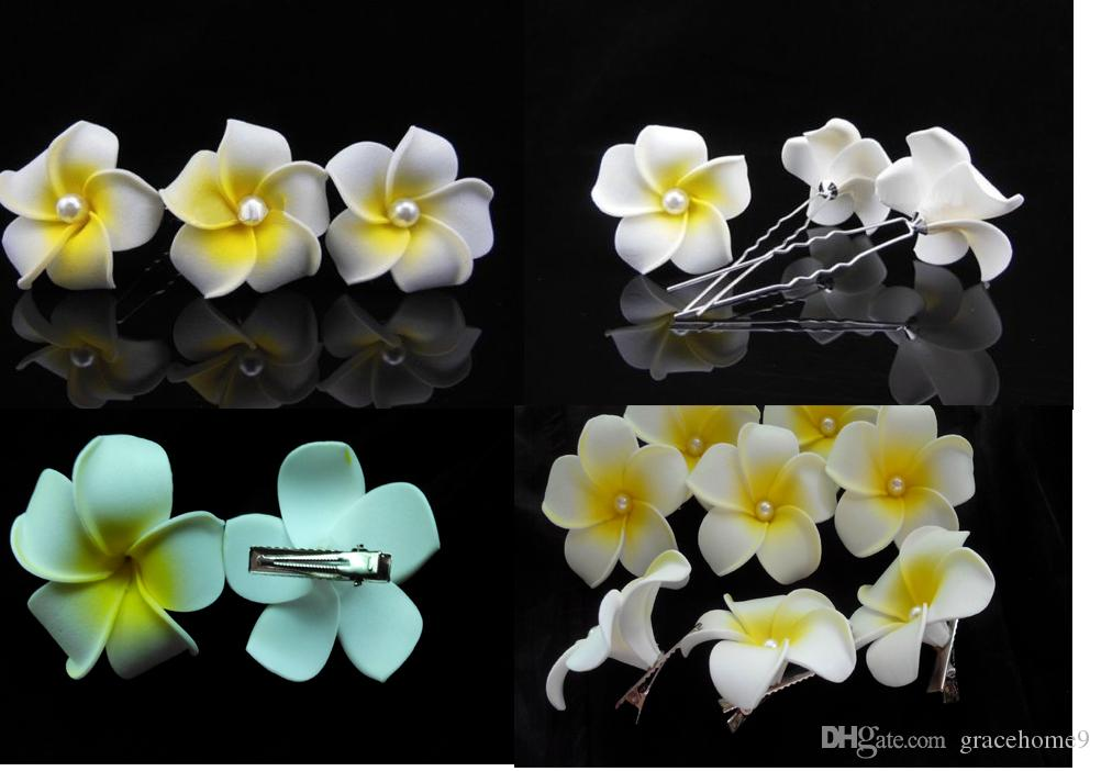 Wholesale - free shipping hair accessories Hawaiian plumeria hairpin side chuck Fashion 6 Piece Hawaiian Plumeria Flower Foam Hair Clip New