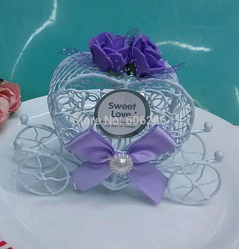 Wedding Gifts Sweet box White iron metal wedding candy box (6color decoration option) 80 PCS wholesale