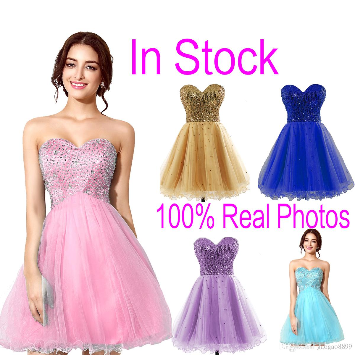 En Stock Pink Tulle Mini Crystal Homecoming Dresses Beads Lilac Sky Royal Blue Short Prom Party Graduación Vestidos 2019 Cheap Real Image Hot