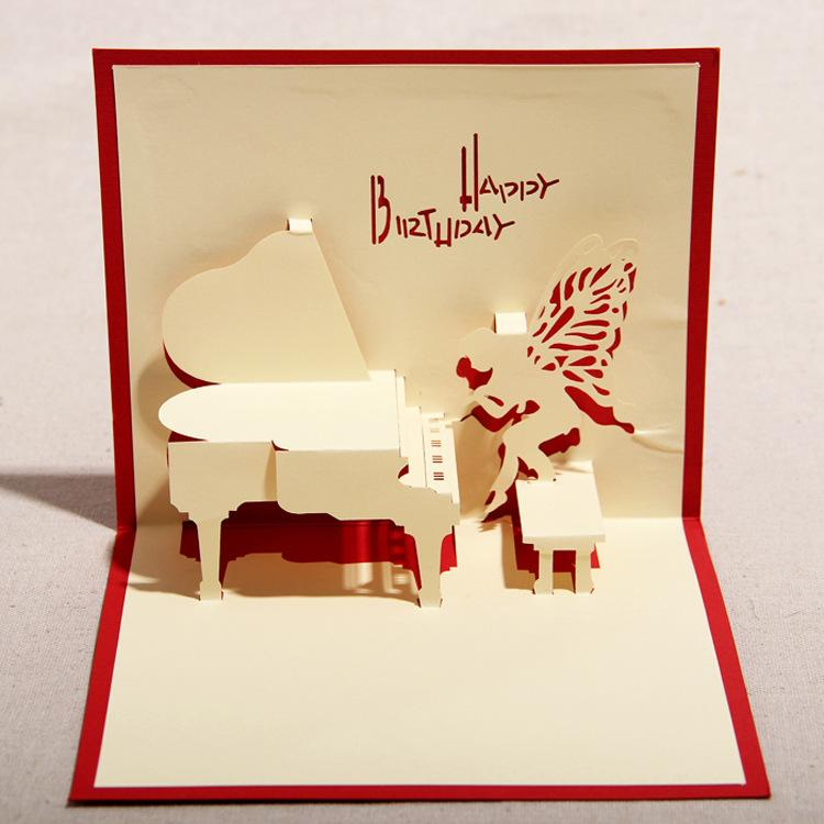 d postcard play piano paper cut greeting cards handmade diy, Greeting card