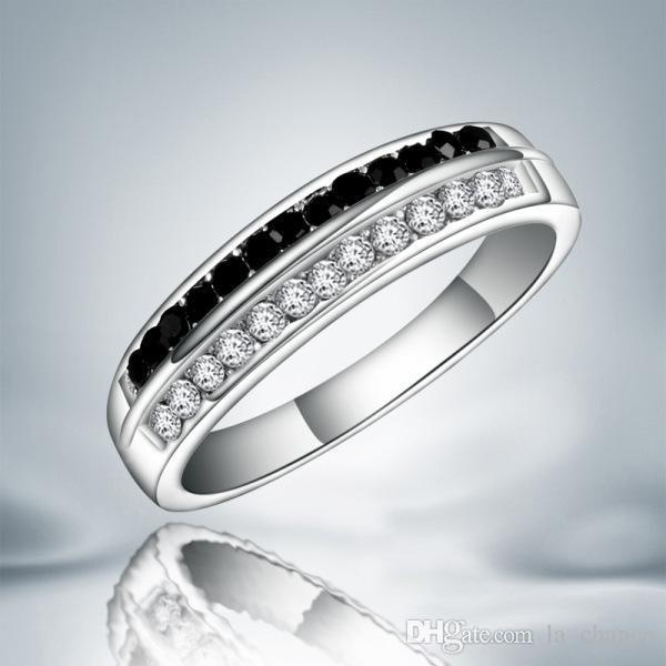 새로운 도착 럭셔리 오스트리아 크리스탈 실버 반지 925 스털링 실버 블랙과 화이트 다이아몬드 무료 배송 8 9 크기