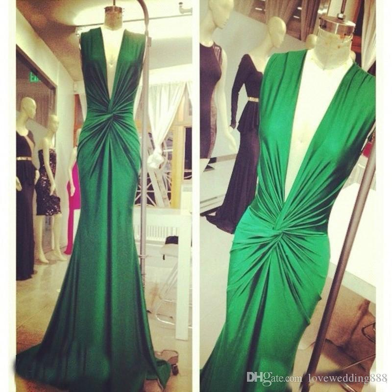 2017 Michael Costello Green Evening Dresses Sexy Deep V Neck Draped Celebrity Special Occasion Gown Prom Party Wear