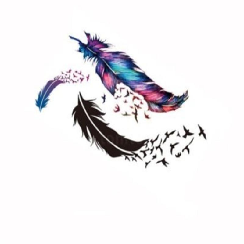 Autocollant Tatouage Papier Temporaire Tatouage Oiseaux Fourrures Motif Body Art Commande Imperméable À L'eau $ 18no track