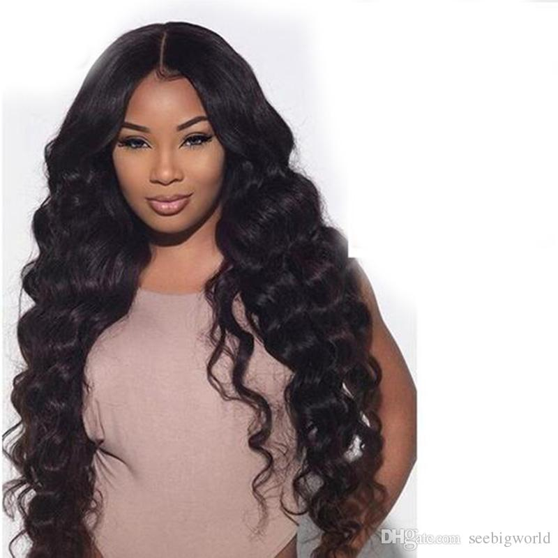 La meilleure qualité cheveux brazilian africains Ameri Simulation perruques de cheveux humains perruque longue détachez vague pour les femmes en stock