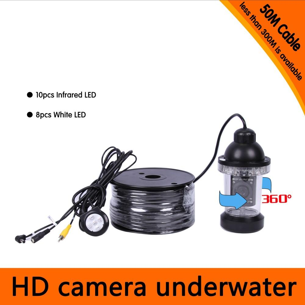 50Meters Depth 360 Degree Rotative Underwater Camera with 18pcs of White or IR LED for Fish Finder & Diving Camera Application