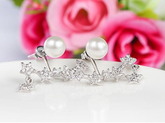 925 스털링 실버 스터드 귀걸이 패션 주얼리 워터 드롭 진주 진주와 여성을위한 지르코니아 다이아몬드 크리스탈 우아한 스타일 귀걸이