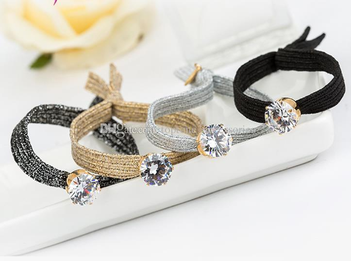 New Women Knot Elastic Hair Band High Quality CZ Rhinestone 4 Colors Girl Hair Accessories Bracelets For Wholesale Free Shipping