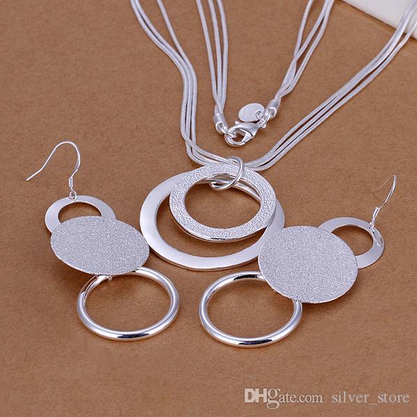 مجموعة عالية الجودة 925 الفضة الاسترليني المزدوج الرمال O قطعة المجوهرات DFMSS017 العلامة التجارية الجديدة المصنع مباشرة 925 الفضة قلادة القرط