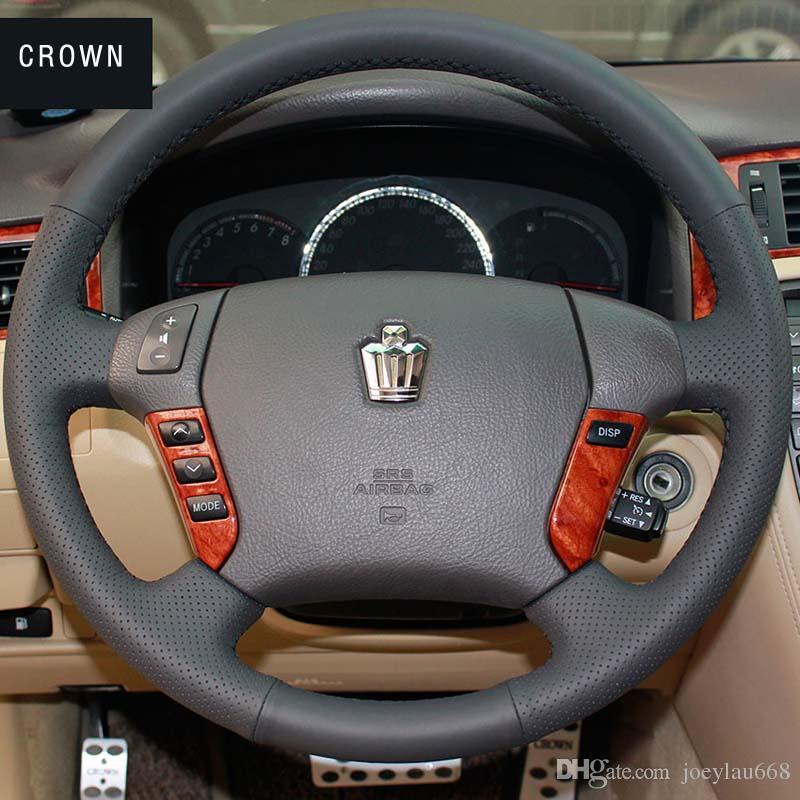Toyota CROWN için direksiyon kapağı Durumda Hakiki deri DIY El-dikiş Araba tasarım Iç dekorasyon