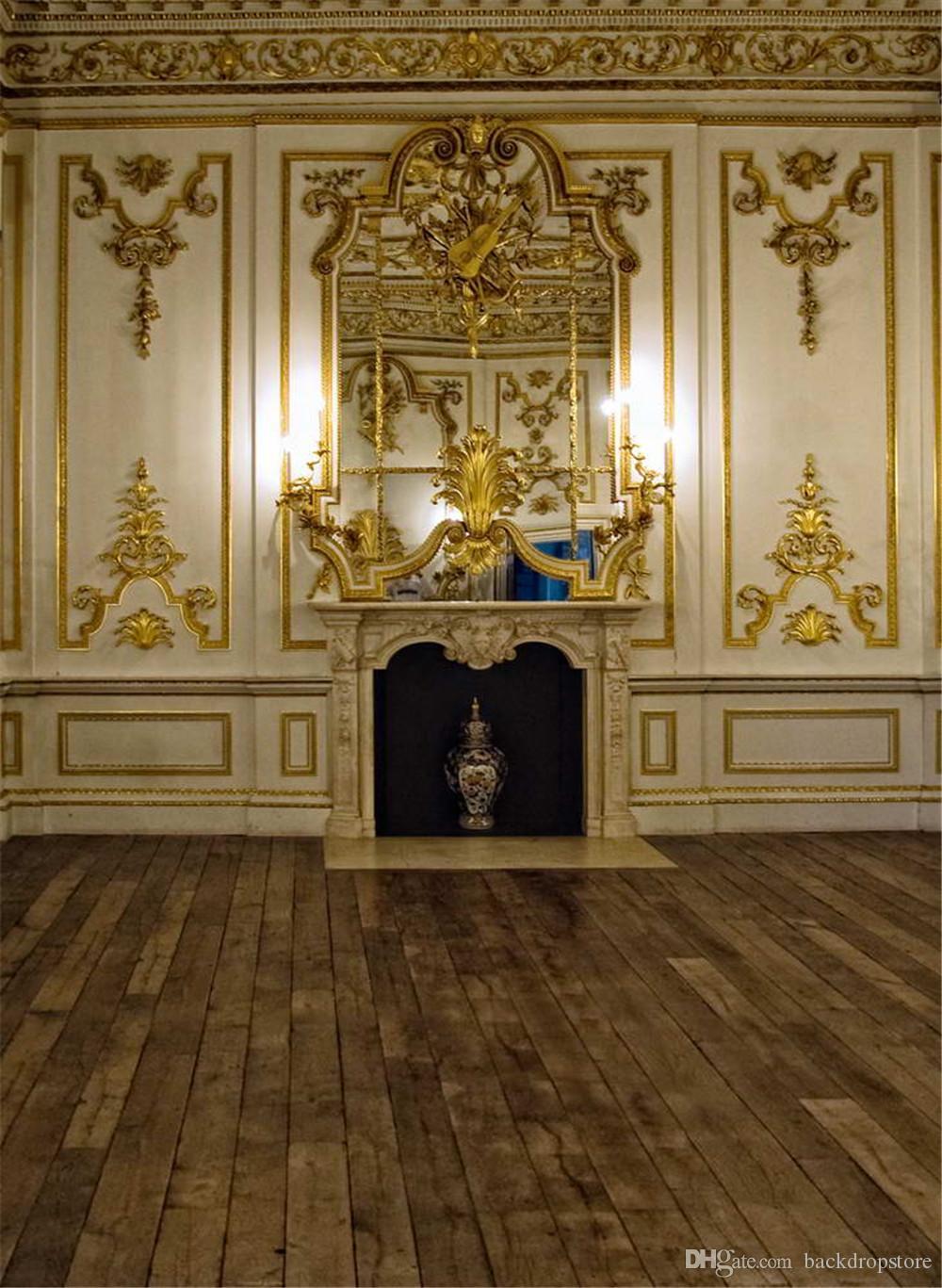 Luxury Palace Gold Mosaic Wall Fondali Fotografia Vinile Tessuto Digital Stampato Indoor Wedding Party Studio fotografico Sfondo Pavimento in legno
