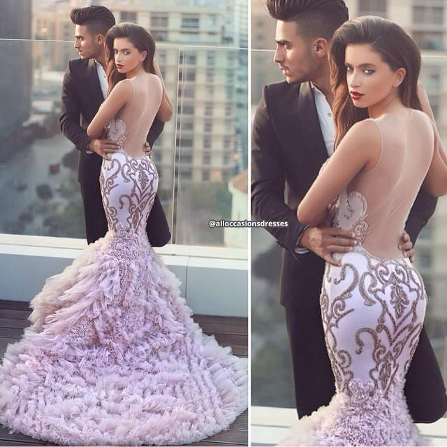 Design Fashion Sheer Neck Cascading Ruffle Tail Mermaid Long Formal Evening Dresses See Through Back Sexy Party Prom Dress Gowns No Sleeve