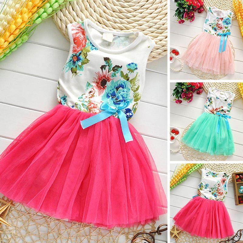 Девушка Платье 2016 Лето Новый Цветочный Платье Девочки Принцесса TuTu Платье 8 Цветов Платья Для Детей Детская Одежда С Бантом
