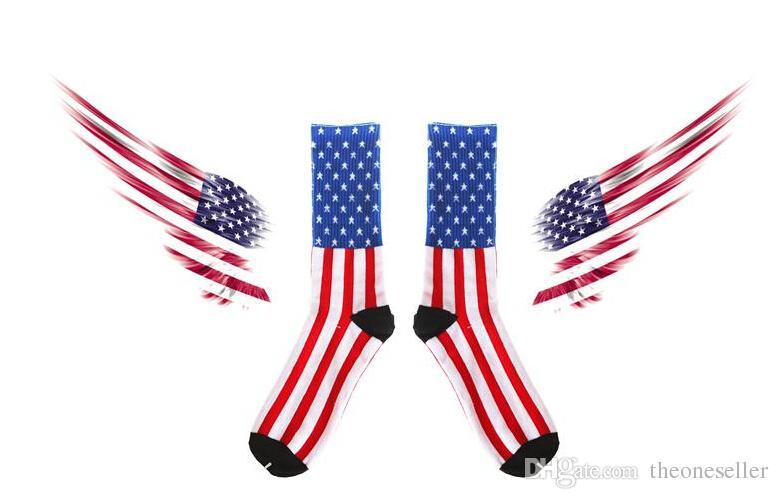 2015 Sıcak Harajuku Amerikan bayrağı çorap erkekler çorap kadın çorap 100% saf pamuklu çorap Kaykay Spor Çorap