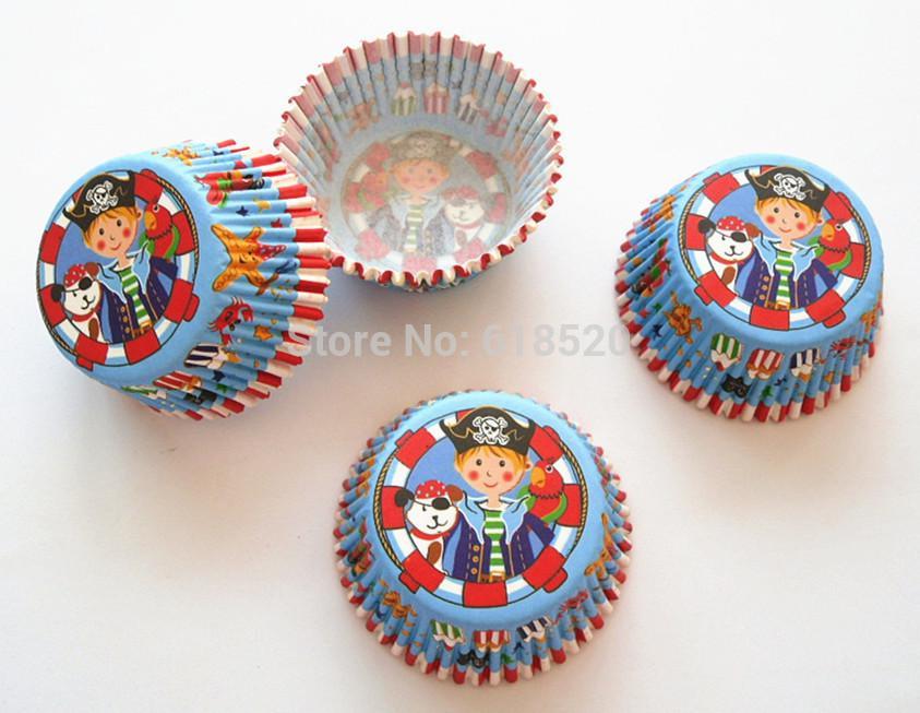 Frete Grátis 200 pcs Príncipe do Pirata Queque Forros Cupcakes de Cozimento Do Bolo Molde Ferramentas de Padaria Decorações Do Partido