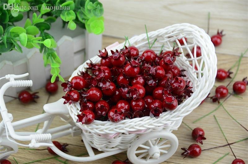 Fleurs en gros-20pcs mini faux verre lisse grenade fruit petits baies artificielles rouge cerise stamen mariage noël noël décoratif usine expert